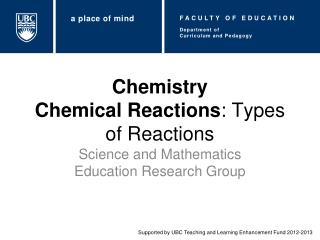 Chemistry Chemical Reactions :  Types of Reactions