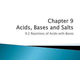 Chapter 9 Acids, Bases and Salts