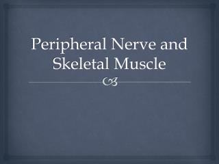 Peripheral Nerve and Skeletal  M uscle