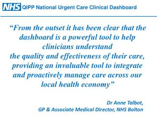 QIPP National Urgent Care  Clinical Dashboard