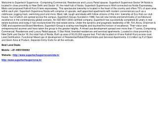 Supertech Supernova Noida Booking Details, 9953100002
