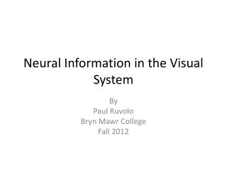 Neural Information in the Visual  System