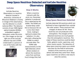 Deep Space Neutrinos Detected and  IceCube  Neutrino Observatory