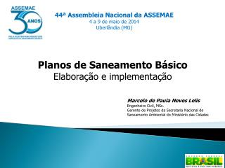 Planos  de  Saneamento Básico Elaboração  e  implementação