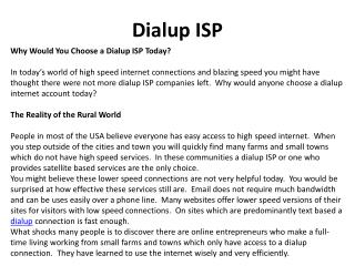 Why Would You Choose a Dialup ISP Today