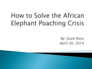 How to Solve the African Elephant Poaching Crisis