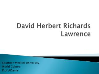 David Herbert Richards  Lawrence