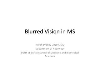 Blurred Vision in MS
