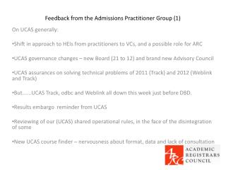 Feedback from the Admissions Practitioner Group (1)