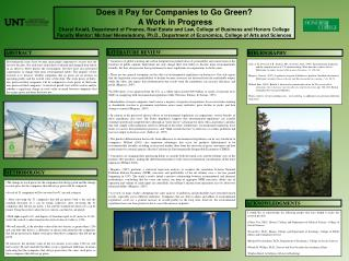 Does it Pay for Companies to Go Green?  A Work in Progress