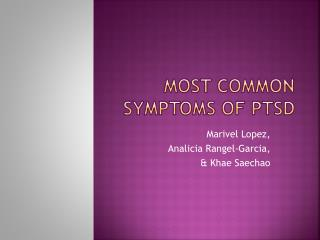 Most Common Symptoms of PTSD