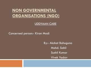NON GOVERNMENTAL ORGANISATIONS (NGO)