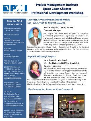 Project Management Institute  Space Coast Chapter Professional  Development Workshop