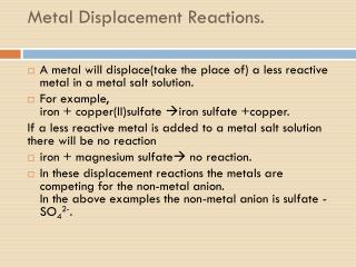 Metal Displacement Reactions.