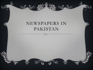 Newspapers In Pakistan