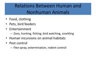Relations Between Human and Nonhuman Animals