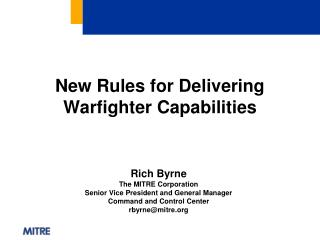 New Rules for Delivering Warfighter Capabilities