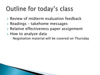 Outline for today's class