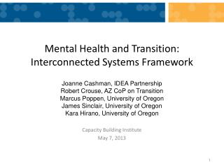 Mental Health  and Transition:  Interconnected Systems Framework