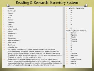 Reading & Research: Excretory System