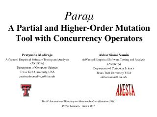 Para μ A Partial and Higher-Order Mutation Tool with Concurrency Operators