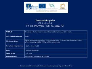 Elektronická pošta ICT,  5. – 6.  ročník VY_32_INOVACE_198,  10. sada, ICT
