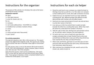 Instructions for the organiser