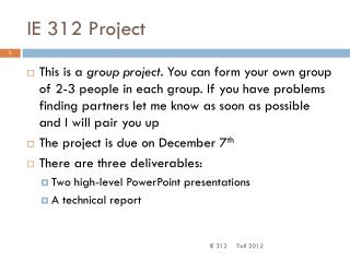 IE 312 Project