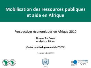 Perspectives économiques en Afrique 2010 Gregory De Paepe Analyste politique