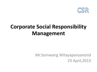 Corporate Social Responsibility Management