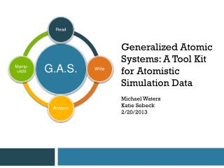 Generalized Atomic Systems: A Tool Kit for Atomistic Simulation Data Michael Waters Katie  Sebeck