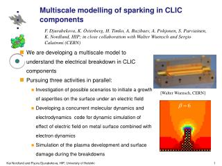Multiscale modelling of sparking in CLIC components