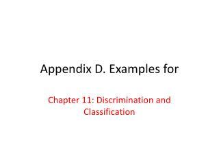 Appendix D. Examples for
