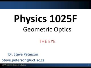 Physics 1025F Geometric Optics