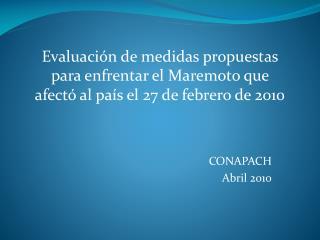 CONAPACH  Abril 2010