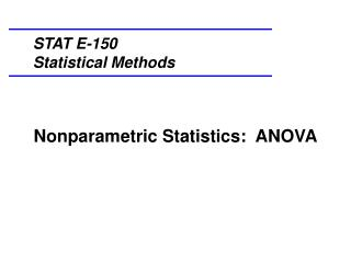 Nonparametric Statistics:  ANOVA