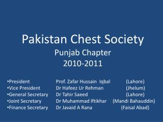 Pakistan Chest Society Punjab Chapter 2010-2011