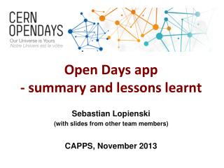 Open Days app - summary and lessons learnt