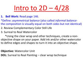Intro to 2D – 4/28