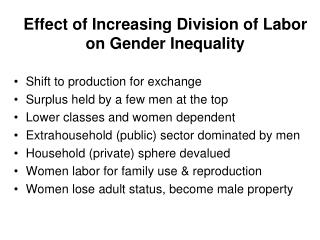 Effect of Increasing Division of Labor on Gender Inequality