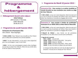 Programme  &  hébergement