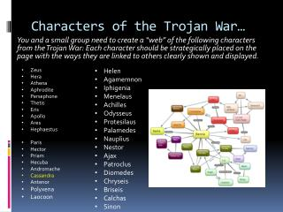 Characters of the Trojan War…