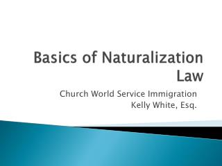 Basics of  Naturalization  Law