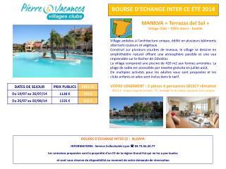 BOURSE D�ECHANGE INTER CE �T�  2014