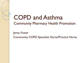 COPD and Asthma Community Pharmacy Health Promotion