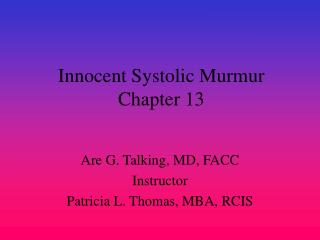 Innocent Systolic Murmur Chapter 13