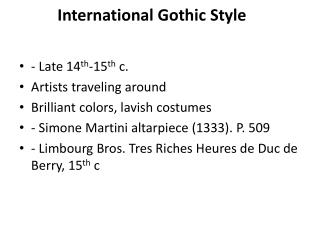 International Gothic Style
