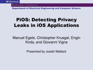 PiOS : Detecting Privacy Leaks in  iOS  Applications