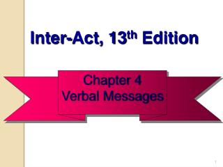 Chapter 4 Verbal Messages