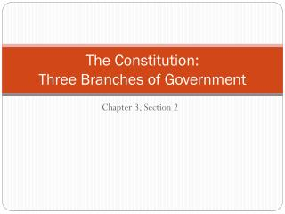 The Constitution:  Three Branches of Government